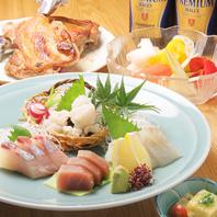瀬戸内鮮魚中心としたお造りと骨付鶏が付いた特別コース