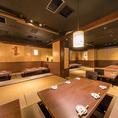 大型宴会個室は、立食時は80名様まで対応可能です♪金山駅すぐでご利用いただける大型宴会個室は、ご宴会やパーティーなど大人数でのご利用もバッチリ対応致します。着席時は、60名様まで対応できますので、ご宴会のシーンに合わせてお席をご用意致します。