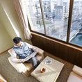 客室利用でのご宴会は、お部屋によっては高知市街を一望できます。