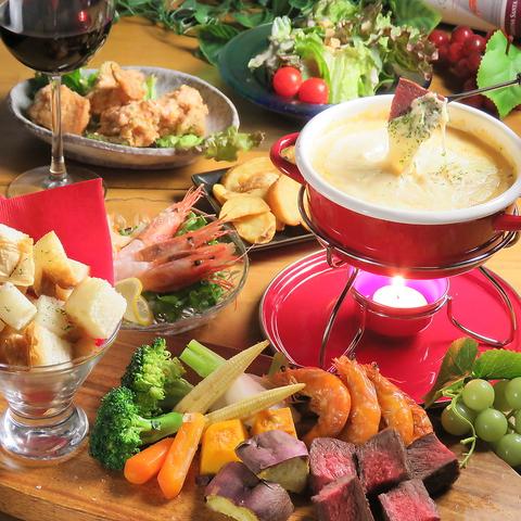 【ランチコース】牛サイコロステーキ&シュリンプdeチーズフォンデュコース♪2500