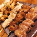 料理メニュー写真串6本盛り(串焼き4本・ビストロ串1本・つくね串1本)