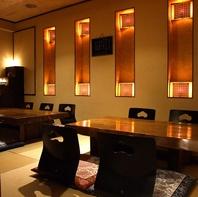 贅沢にゆったりと造られた完全個室は12名様まで。