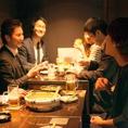 最大14名様まで着席頂けます。会社宴会や女子会など幅広いシーンに対応できます。また4名様テーブルが3つ並んであり、お隣とは薄いカーテンで仕切れます。