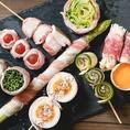 ★野菜巻き串★当店では、さまざまな野菜巻き串をご用意しております♪盛り合わせもございます★詳しくは、料理ページをご覧ください!