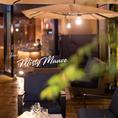 夏期限定、ビアテラスが開催されるテラス席有り。今年のビアは光と映像、音で味わう【Misty Mauve ミスティモーヴ】がテーマ。