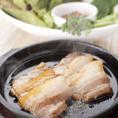 【サムギョプサル】三元豚のバラ肉を鉄板でこんがりと焼きました!