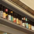世界各国のクラフトビールのボトル!ご常連様からのお土産もあったり。可愛いボトルも是非ご覧ください1