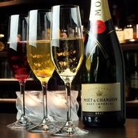 【赤・白・泡の多彩なワイン】常時約40種以上ご用意