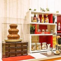 チョコレートファウンテン・みそ汁バーが無料!