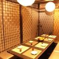 飲み会にぜひご利用ください。ゆったりとくつろげる空間。全席完全個室!(2名、4名、6名、8名、20名、40名、55名様でも必ず個室) 難波×居酒屋×食べ放題=きんぱち♪