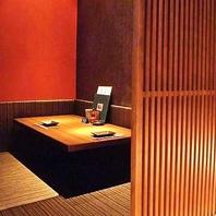 上質な空間の完全個室のお席は2名様からご利用可能です