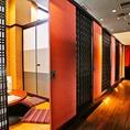 完全個室のお部屋はパーテーションで移動できるのでお部屋の人数も自由自在♪