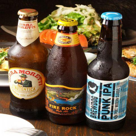 3種類のクラフトビールもご用意ございます。【ハワイのファイヤーロック】【イタリアのモレッティ】【スコットランドのパンクIPA】がございます。飲みやすく女性にも大人気!!皆様で楽しいひと時を是非、びすとろいしかわやでお過ごしください♪