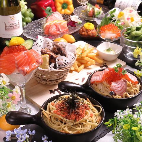 ≪贅沢!メイン2種+サーモンとイクラの親子丼付で大満足◎≫デザート付きお料理8品+2H飲放4000円