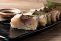 料理メニュー写真熟成シマアジの押し寿司