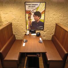 【壁側ボックスシート】一番人気!3方向を囲まれたお席です。2名様~最大4名様までご利用可能です。天井も高いので換気も十分です!