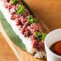 料理メニュー写真圧巻!60センチのロングユッケ寿司