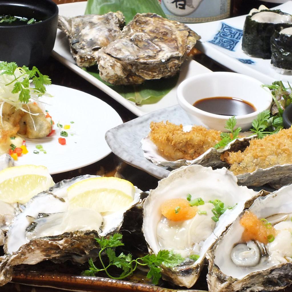 海のミルク!!祐一郎の厚岸牡蠣は、一粒が大きくて肉厚ぷりぷり!厚岸牡蠣堪能セット(7品)一人前2980円