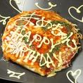 大切な人へのオリジナルメッセージを添えて、、ケーキ以外に、まめではお好み焼きでサプライズも急増中!お気軽にお申し付けください!