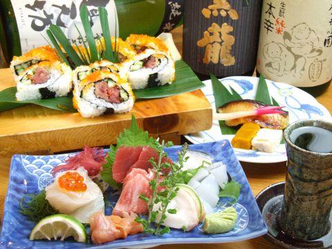 新鮮な魚介を使った自慢の料理、各地の美味しい地酒もご用意!美味しいひと時をどうぞ