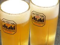 最初の一杯はビールで乾杯!!