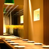 和風デザイナーズ空間。落ち着いた個室と宴会場を完備。
