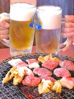 美味い焼肉とビールで乾杯!