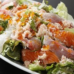 料理メニュー写真● 活・・カニぶっかけ&岩海苔・シラスのサラダ