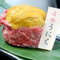 料理メニュー写真生ウニの黒毛和牛肉巻き
