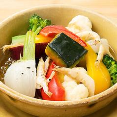 彩り野菜と白海老のオイル焼き