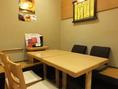 基本4名掛けテーブルですが、人数に応じて付け離し可能!大人数の飲み会にもご利用ください。忘新年会、歓送迎会も大歓迎♪