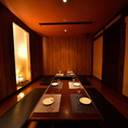 8~12名様までご利用可能な個室。落ち着いた色調で統一された和個室。お洒落な造りで女性にも人気です。