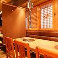 【別館】 4名席×2 6名席×2最大20名様までお座りいただけます。※15名~利用可テーブルごとに仕切りができますので、半個室としてもご利用いただけます。