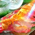 めだか亭のお勧め★炙り肉寿司!とろける雲丹とお肉が美味しい組み合わせをさらに炙って召し上がれ♪【福山/もつ鍋/鍋/串焼き/飲み放題/食べ放題/歓迎会/焼き鳥/肉/めだか】