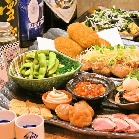 【日本酒メインで楽しむ:日本酒お手軽コース】:税込4,000円!獺祭、黒龍も入った飲み放題付!