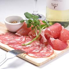 料理メニュー写真色々ハム3種盛り合わせ/もみじ豚のゆず七味焼 吉和葉わさびと一緒に