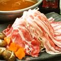 料理メニュー写真名物 ねぎ豚しゃぶしゃぶ(国産霜降り豚バラ・ロース2種盛)