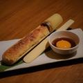 料理メニュー写真竹つくね 特製タレ&卵黄添え