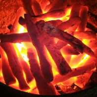 炭火でじっくりと焼く串焼