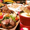 女子会コースは+1000円で宮崎牛のチーズフォンデュにグレードアップも可能です★☆彡