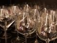 ワインに合わせたグラスの種類も豊富