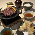 料理メニュー写真サーロインと海老天ぷら膳