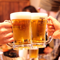 コースの飲み放題は生ビールOK!