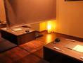 やさしい光が印象的な半個室席