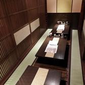 6名様の掘りごたつ式のお席です。※同タイプが2テーブルございます。また4名様のテーブルとも連結させて大人数のご宴会も可能です。