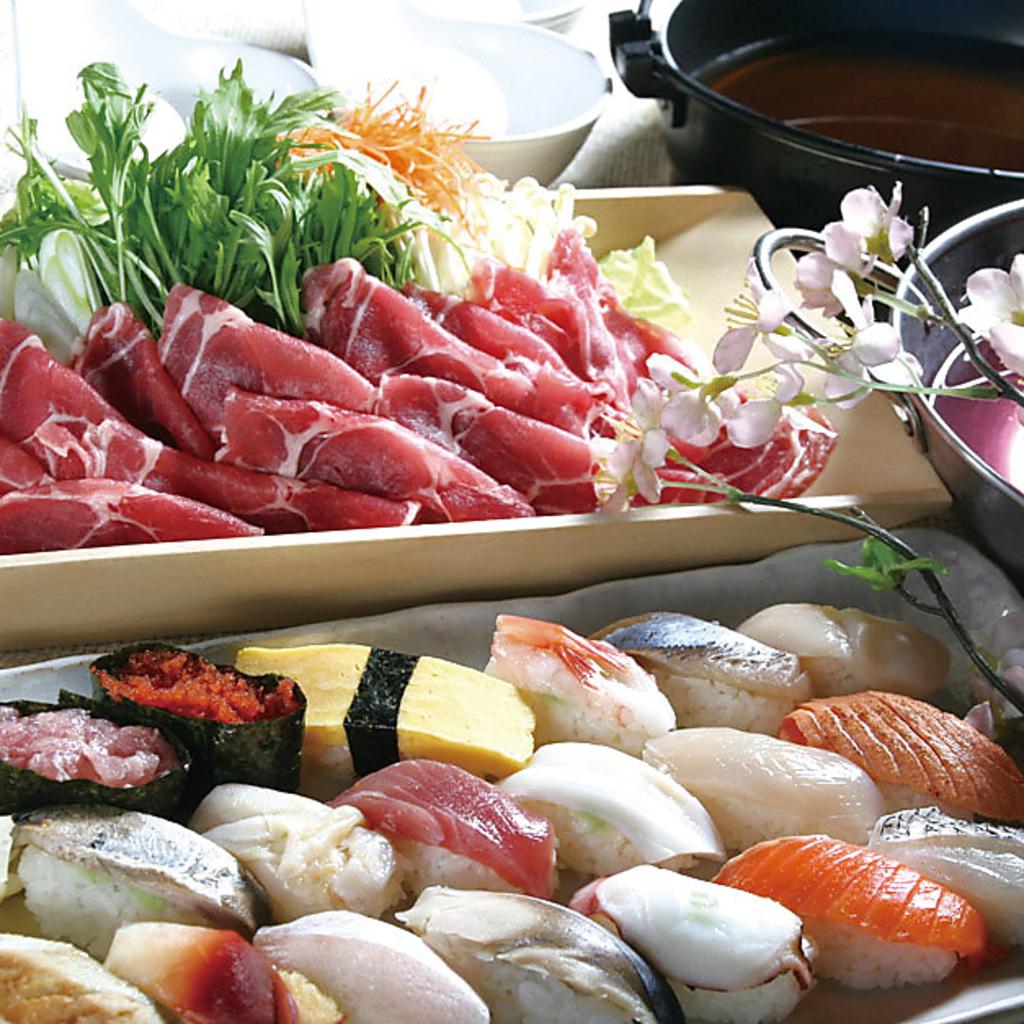 豚しゃぶと十種握り寿司食べ放題プランクーポン利用で2時間飲み放題付3300円(日曜&祝日は2700円)