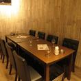 落ち着いた雰囲気のテーブル席は気軽な飲み会や女子会にも◎人数に合わせてお席をお作りできますのでお気軽にお問い合わせを♪