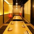 ゆったり広々とした掘りごたつ式個室は10名・20名・40名・50名…人数に応じて用意◎お席は、2~180名様まで大人気の全席完全個室へご案内させて頂きます。