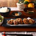 料理メニュー写真自家製だしの国産鶏唐揚げ定食