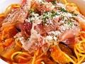 料理メニュー写真ナスと生ハムとモッツァレラチーズのスパゲッティ